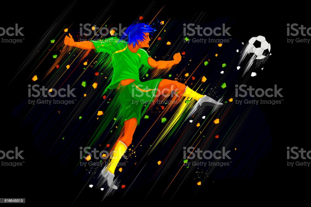 Soccer Player kicking vector art illustration