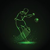 Soccer player kicks the ball. Back view. Vector sport neon illustration.