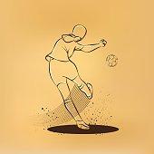 Soccer player kicks the ball. Back view. Vector sport retro drawing illustration.