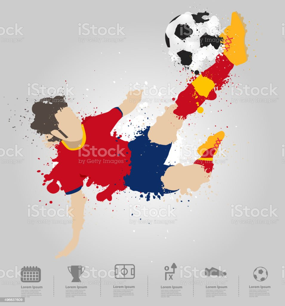 Soccer player kicks the ball vector art illustration