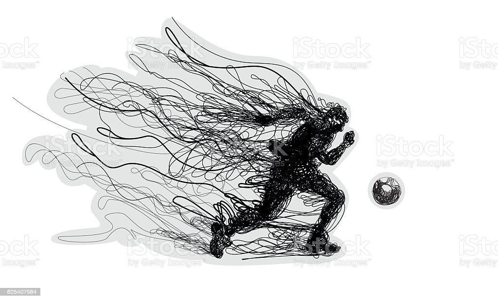 Soccer player kicks the ball. vector art illustration