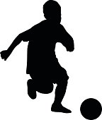 soccer player kids silhouette