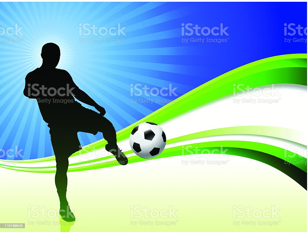 Soccer Player on Abstract Rays Background royalty-free stock vector art