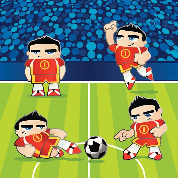 ilustrações de stock, clip art, desenhos animados e ícones de jogador de futebol no campo em poses diferentes - soccer supporter portrait