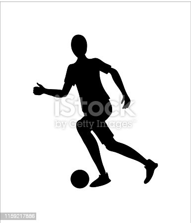 Soccer player or footballer silhouette. Football vector icon.