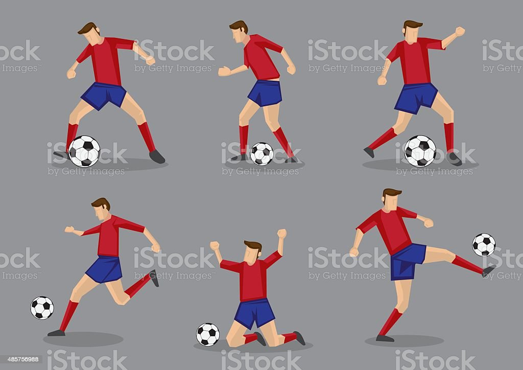 Soccer Player Passing and Dribbling Vector Icon Set vector art illustration