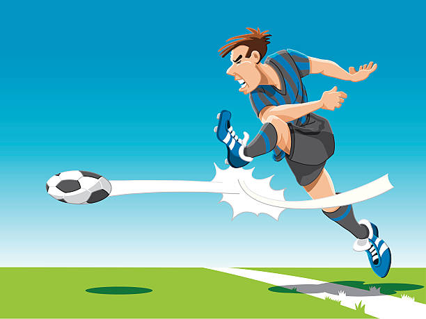 """Soccer Player Powerful Shot """"Vector Illustration of a soccer player, who shots powerfully on goal. Striker, floor and sky are on separate layers. The colors in the .eps-file are ready for print (CMYK). Included files: EPS (v8) and Hi-Res JPG."""" soccer stock illustrations"""