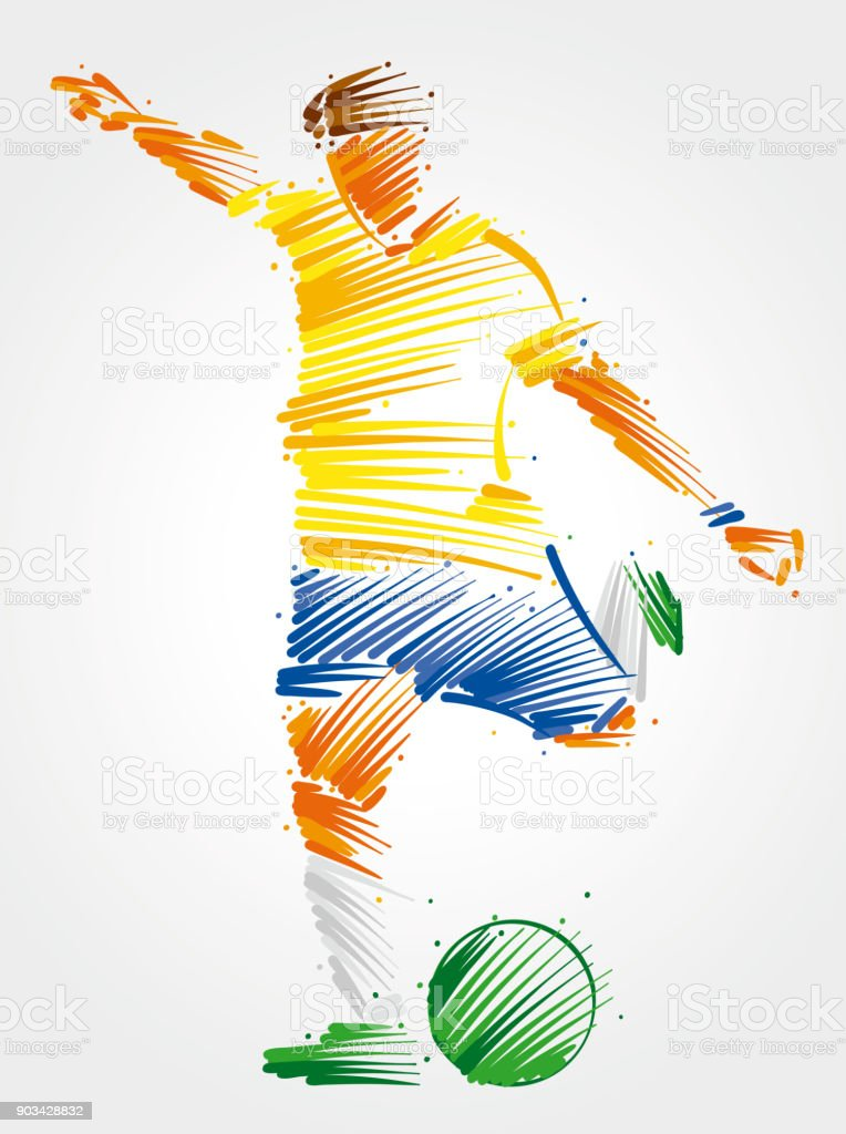 soccer player running to kick the ball vector art illustration