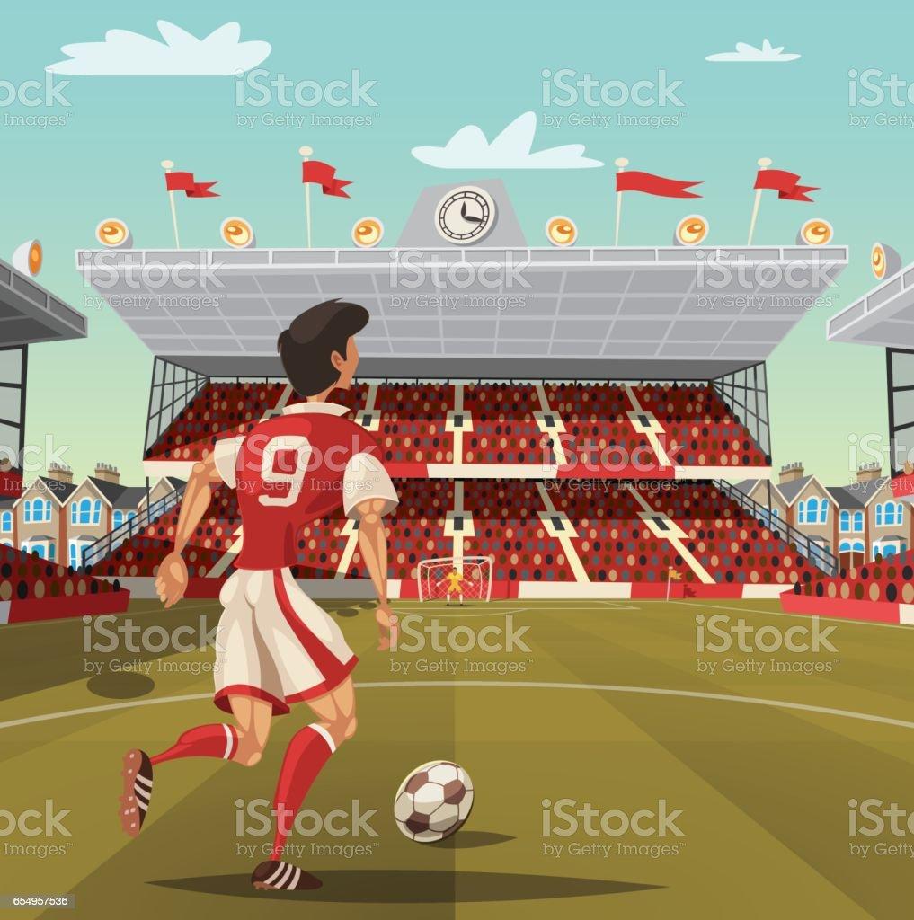 Soccer player running to the goal vector art illustration