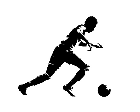 Soccer player running with ball, abstract isolated vector silhouette, side view. Team sport