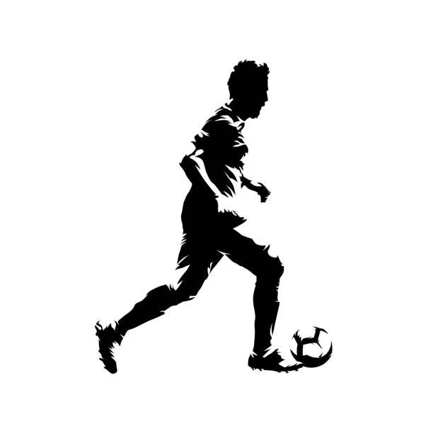 stockillustraties, clipart, cartoons en iconen met voetbalspeler running met bal, abstract geïsoleerd vector silhouet. voetballer inkt tekenen, komische stijl - soccer player
