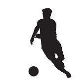Soccer player running with ball, front view. Isolated vector silhouette