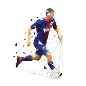 Soccer player running with ball, low poly geometric vector illustration