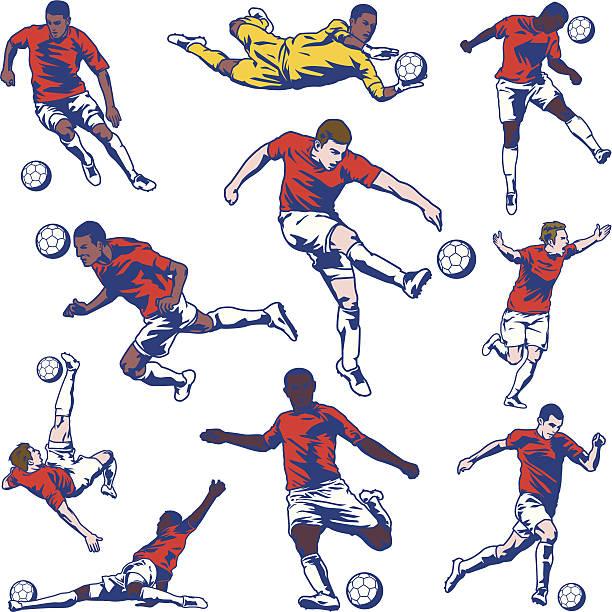 stockillustraties, clipart, cartoons en iconen met soccer player set - soccer player
