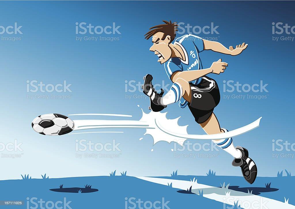 Soccer Player Shot On Goal vector art illustration