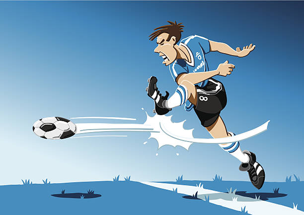 Soccer Player Shot On Goal Vector Illustration of a soccer player, who is shooting on goal. The background is on a separate layer, so you can use the illustration on your own background. The colors in the .eps-file are ready for print (CMYK). Included files: EPS (v8) and Hi-Res JPG. soccer stock illustrations