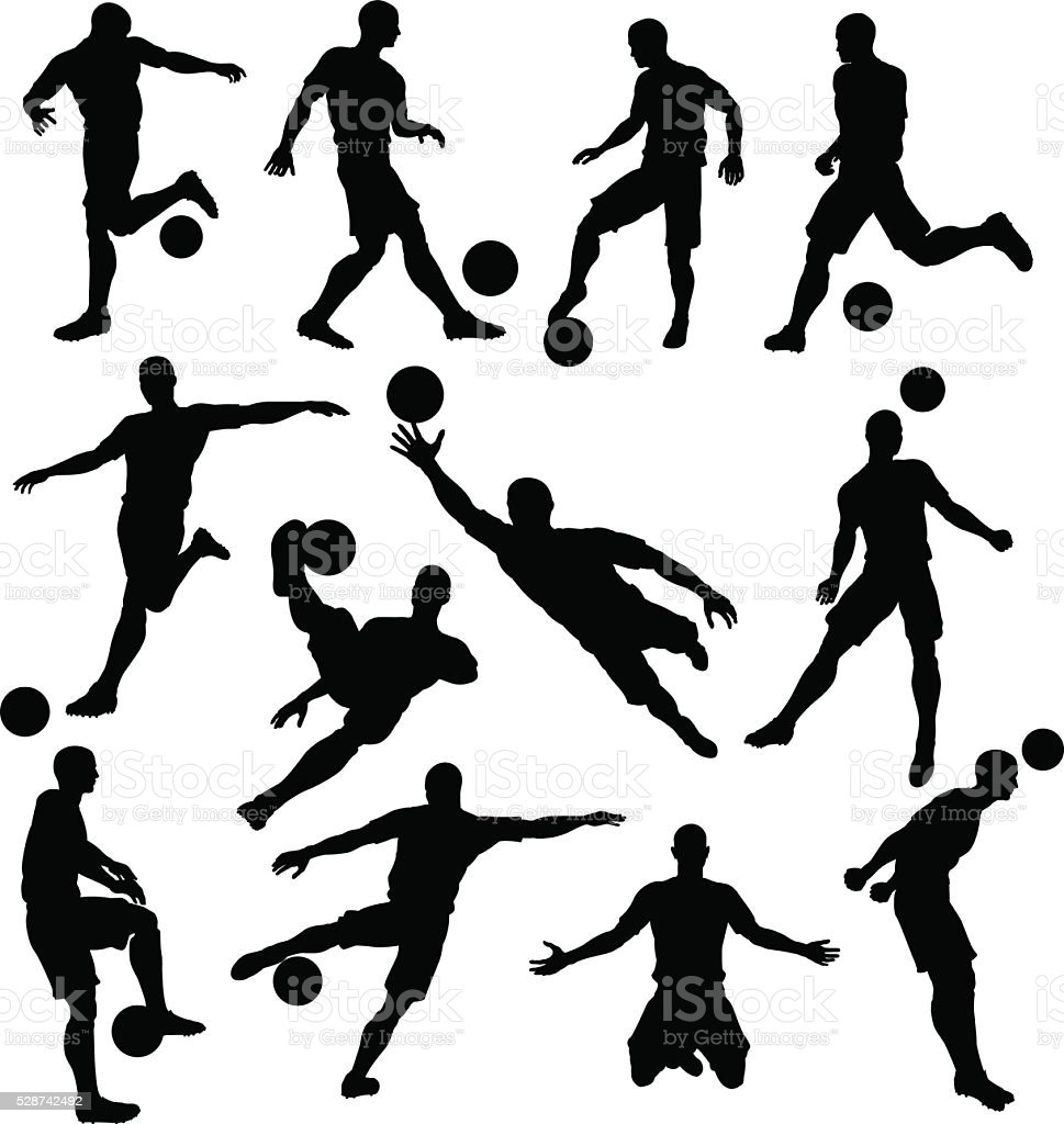 Soccer Player Silhouettes vector art illustration