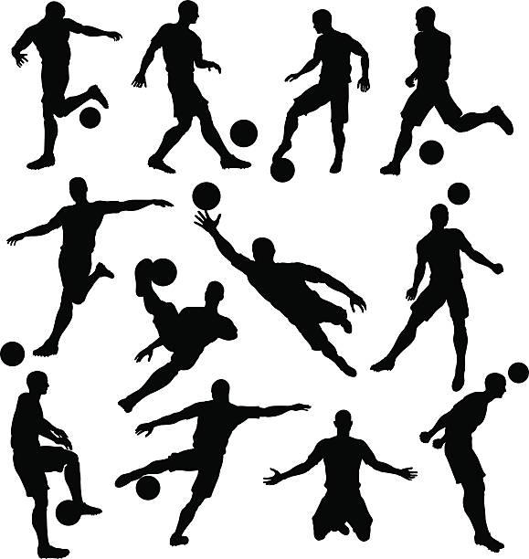 stockillustraties, clipart, cartoons en iconen met soccer player silhouettes - soccer player