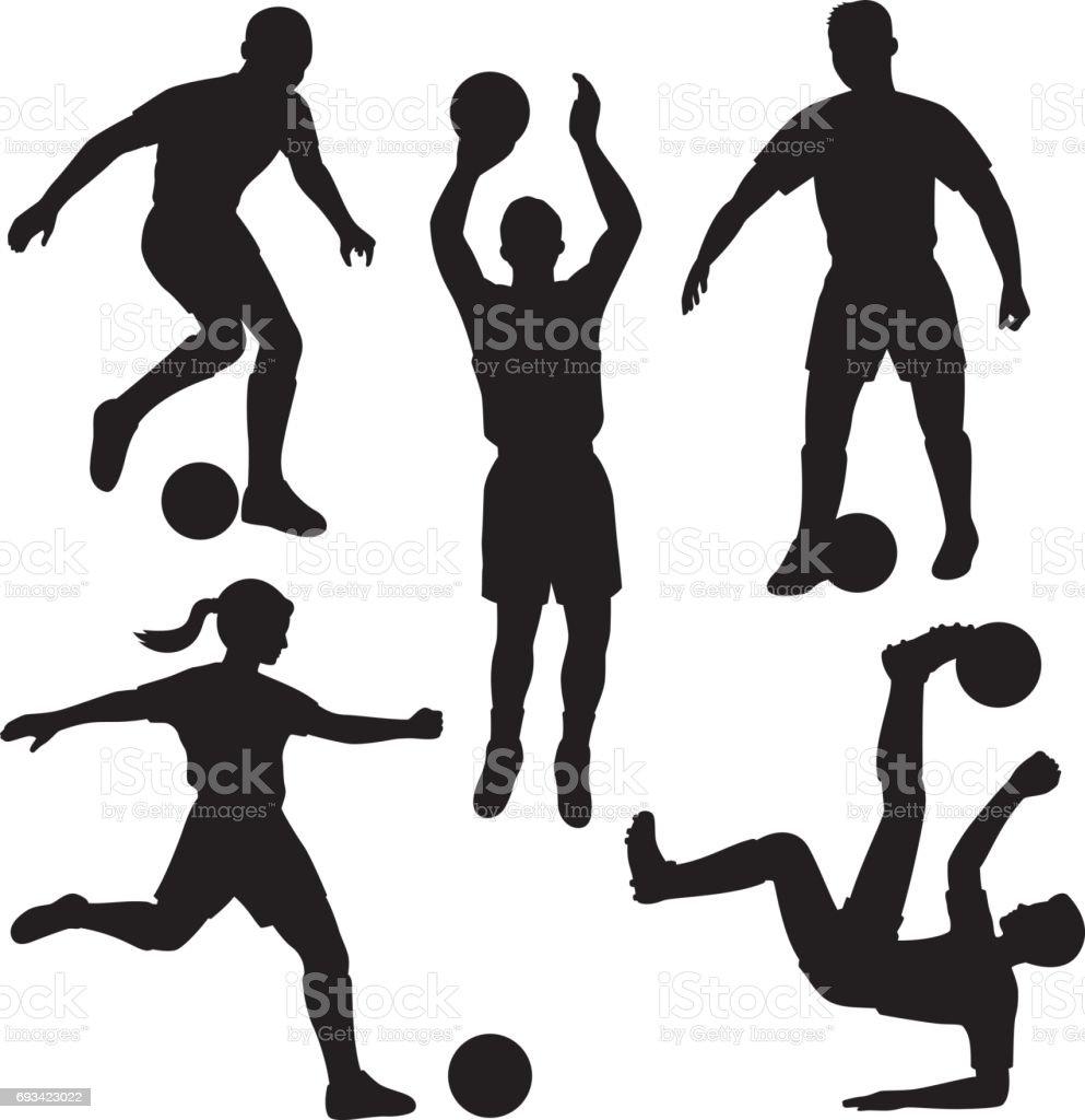 Soccer Player Silhouettes vector art illustration