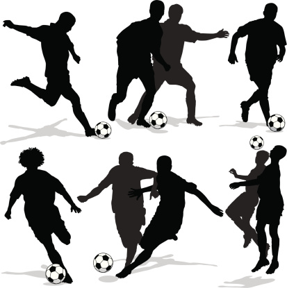 Soccer Player Silhouettes with Shadows