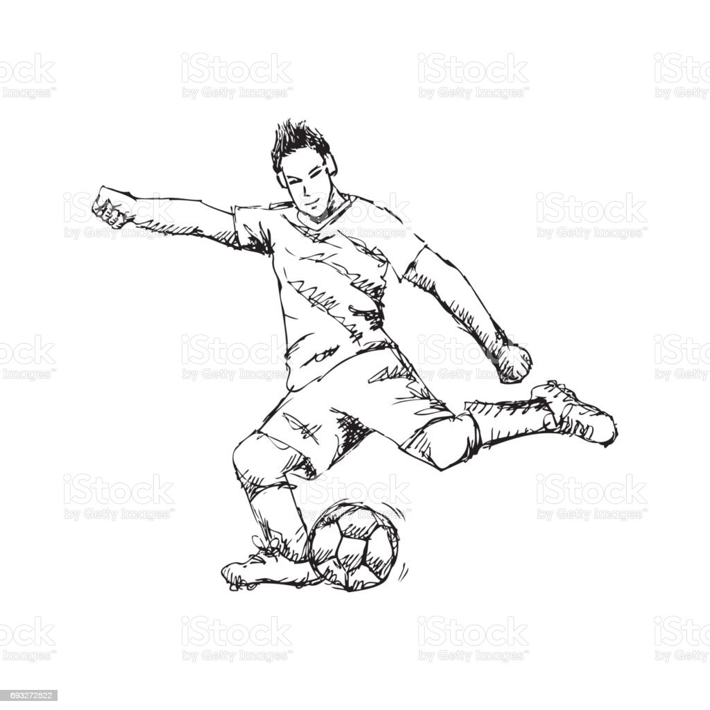 Soccer Player Sketchy Style Stock Illustration Download