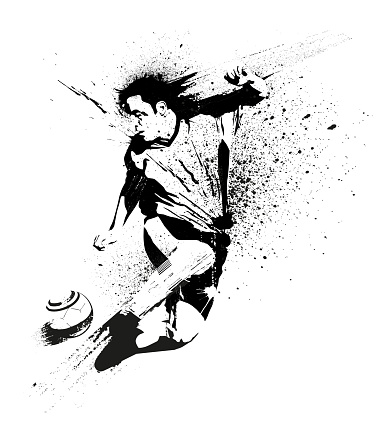 Soccer player stencil