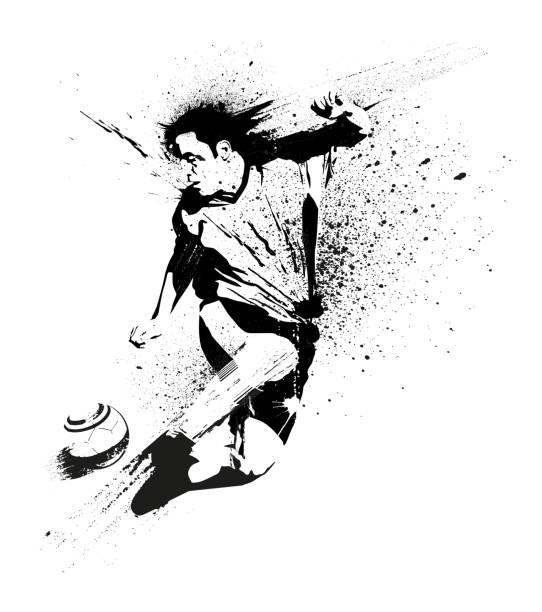 stockillustraties, clipart, cartoons en iconen met voetbal speler stencil - soccer player