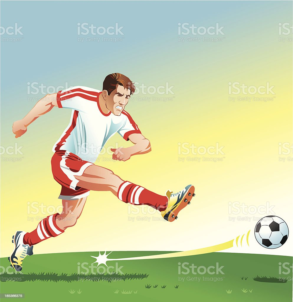 Soccer Player Striking the Ball royalty-free stock vector art
