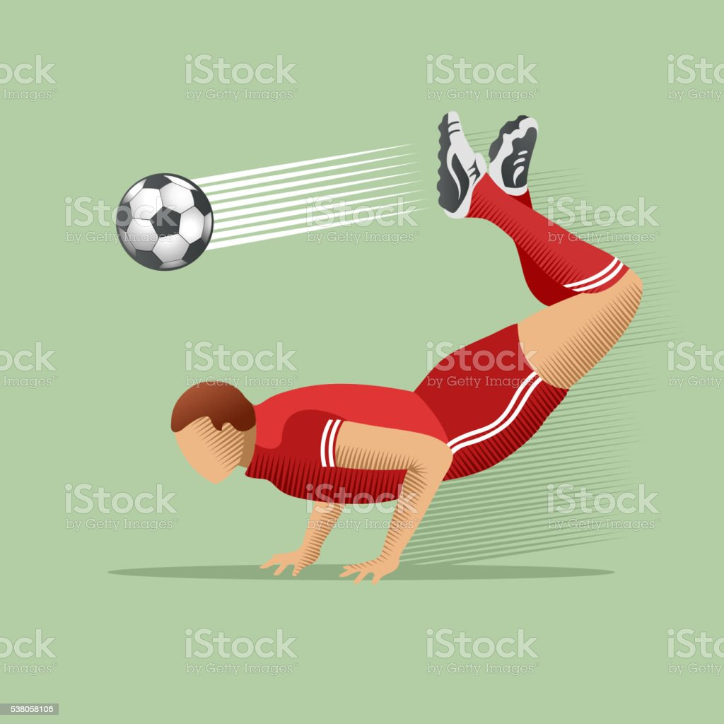 Vector illustration of soccer player kicking soccer ball.