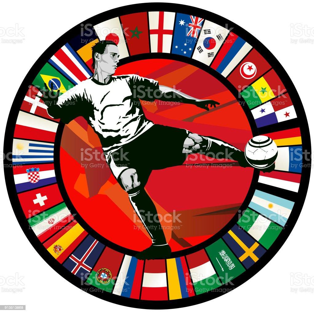 Futbol jugador volea contra un círculo de banderas del mundo 2018 - ilustración de arte vectorial