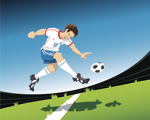Soccer Player Volley Shot Hand-drawn vector illustration of a soccer player, who is shooting the ball volley. The illustration is on separate layers, so you also can use the soccer player on your own background. The colors in the .eps-file are ready for print (CMYK). Included files: EPS (v8) and Hi-Res JPG. soccer stock illustrations