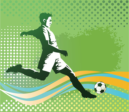 Soccer Player With Ball on Green Background