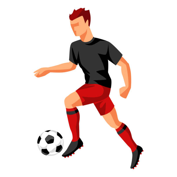 stockillustraties, clipart, cartoons en iconen met voetbalspeler met bal. sport voetbal illustratie - soccer player