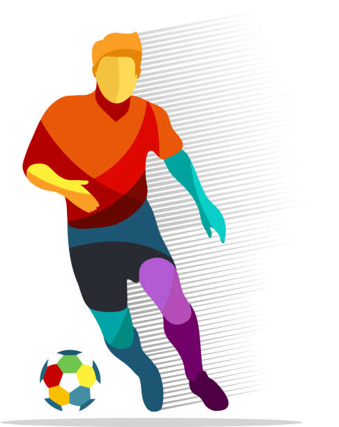 Soccer player with ball vector art illustration