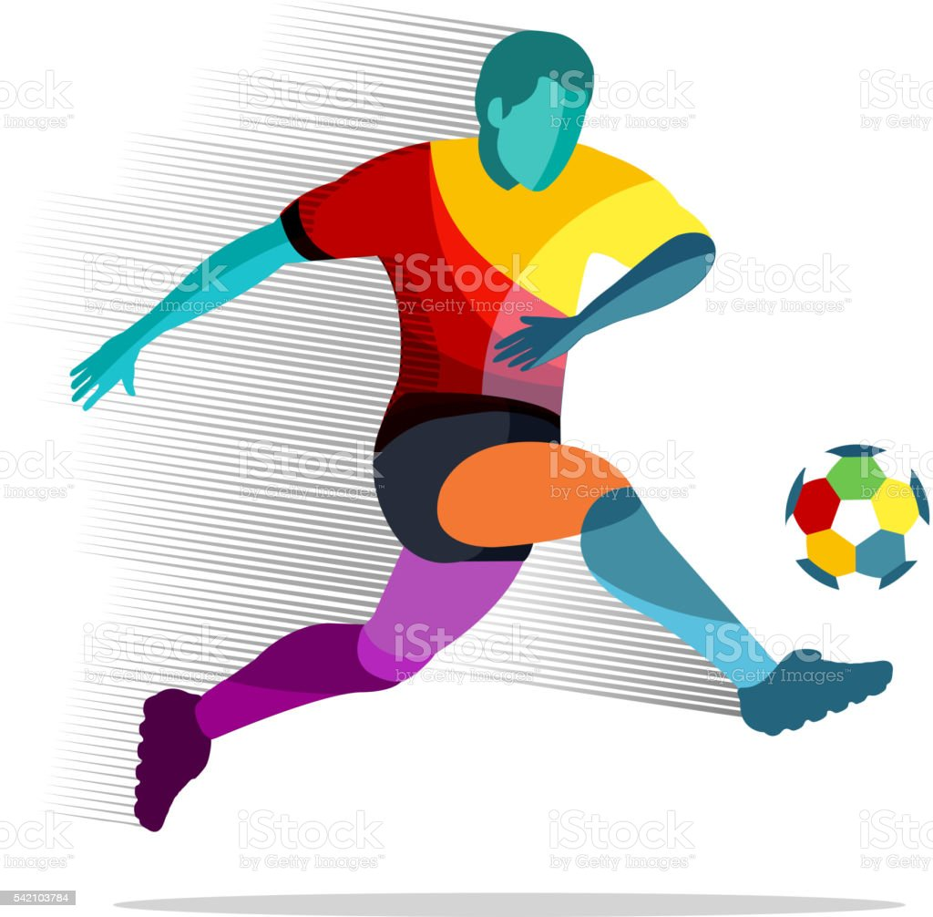 Soccer player with ball royalty-free soccer player with ball stock vector art & more images of broiling