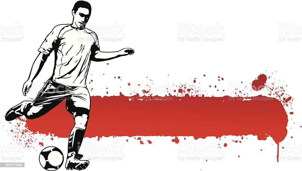 soccer player with grunge red banner royalty-free soccer player with grunge red banner stock vector art & more images of adult