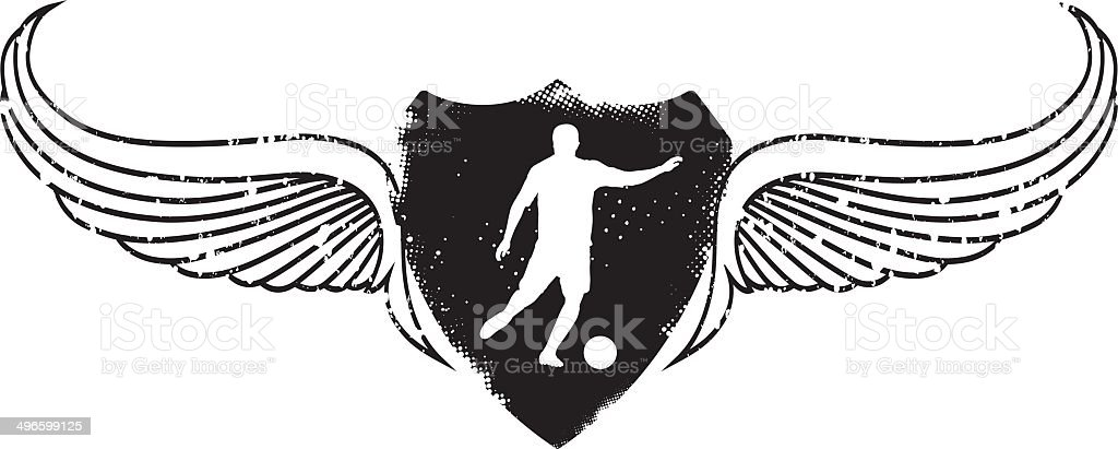 soccer player with grunge shield royalty-free stock vector art