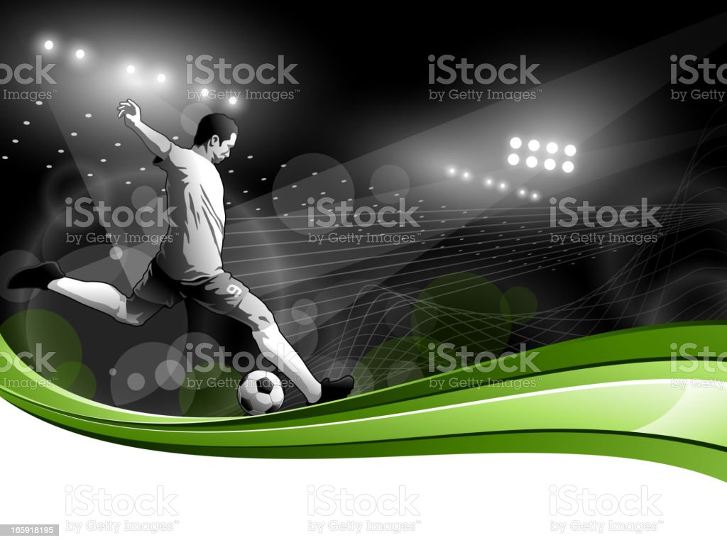 Soccer Player with Stadium Lights vector art illustration