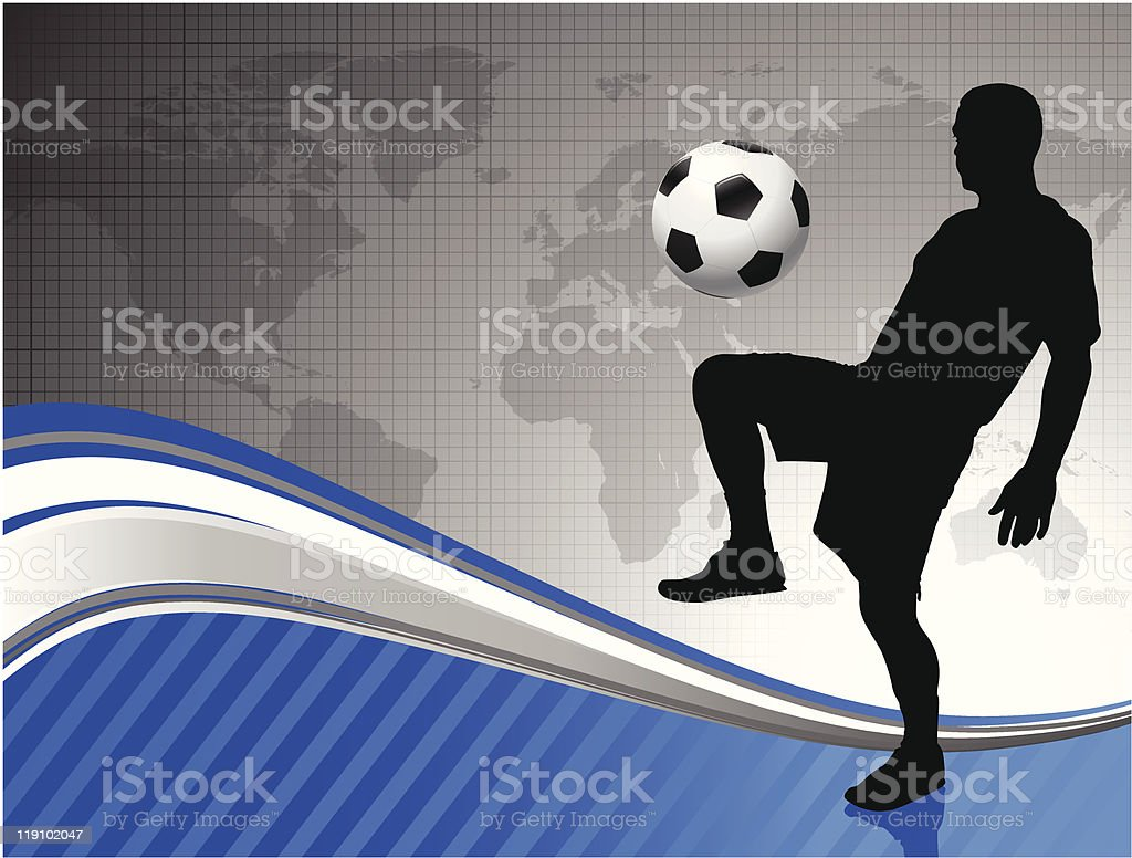 Soccer Player with World Map Background royalty-free stock vector art