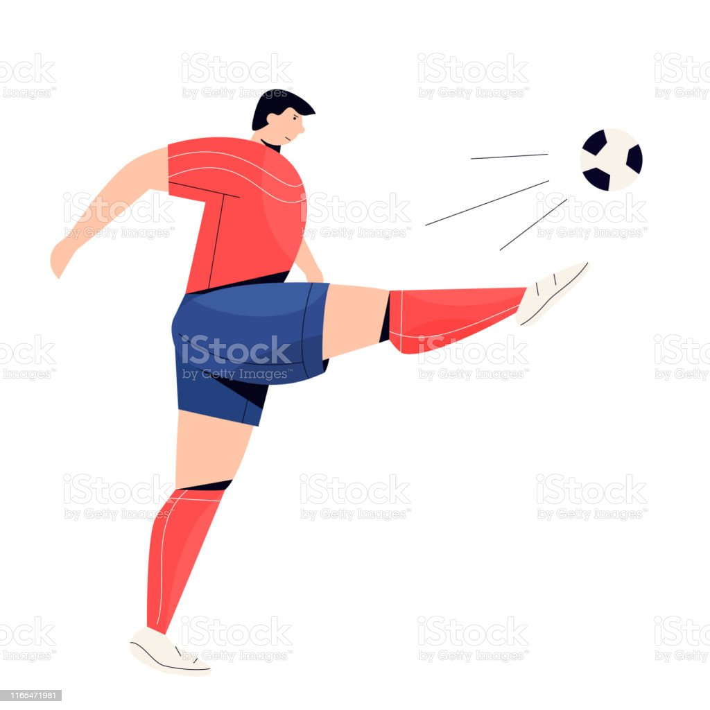 Soccer Player in action. Football play game people character. Vector...