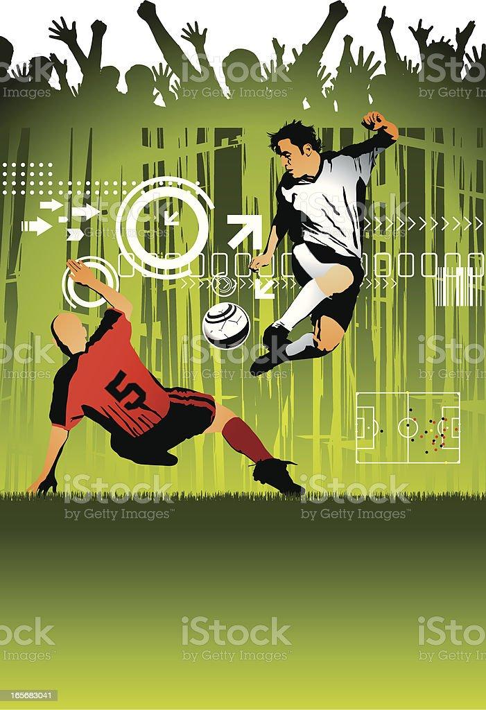 Jogadores de futebol e comemorando multidão - ilustração de arte em vetor