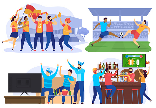 Soccer players and football fans cheering in bar, people cartoon characters, vector illustration