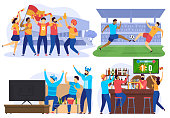 Soccer players and football fans cheering in bar, people cartoon characters, vector illustration. Sport game competition on stadium, friends watching football on tv together. Soccer match championship