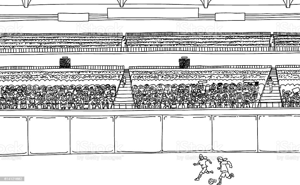 Soccer Players and Large Crowd at Stadium vector art illustration