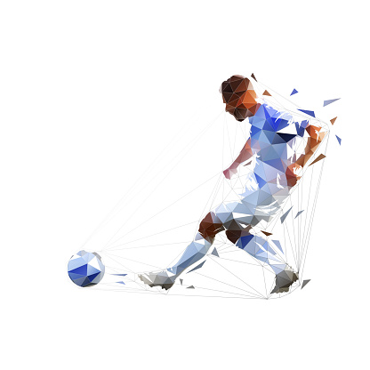 Soccer players, attacker shoots, goalie jumps. Isolated ink drawing vector silhouette