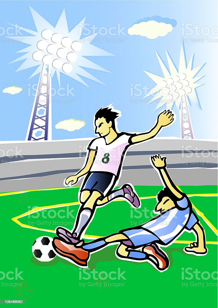Soccer players fight. Vector illustration. royalty-free soccer players fight vector illustration stock vector art & more images of adult