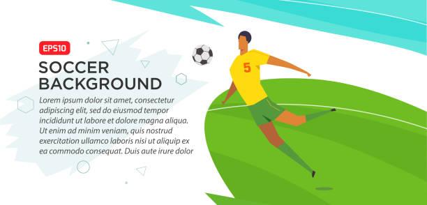 fußball-spieler. . narr-farbe-vektor-illustration im flachen stil - fußballkunst stock-grafiken, -clipart, -cartoons und -symbole