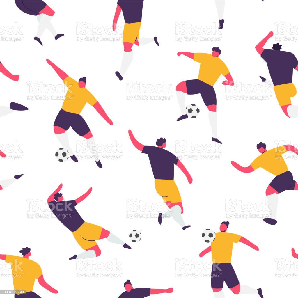 Seamless pattern with soccer players. Football game endless vector...