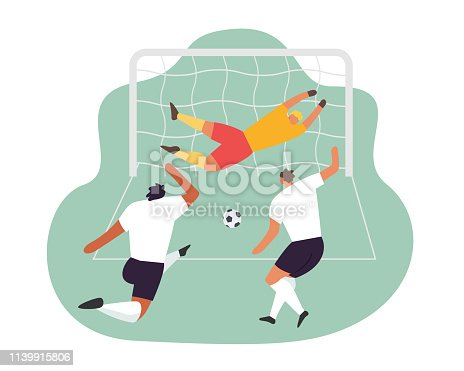 Soccer play. Goalkeeper trying to catch the ball. Vector football game players.