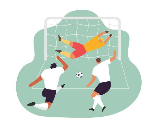 stockillustraties, clipart, cartoons en iconen met voetbalspelers doelman actie. voetbal vector sport set - soccer player